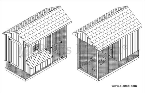 70408RS Chicken Coop Hen House 4 ft x 8 ft Saltbox Roof Style Project Plans
