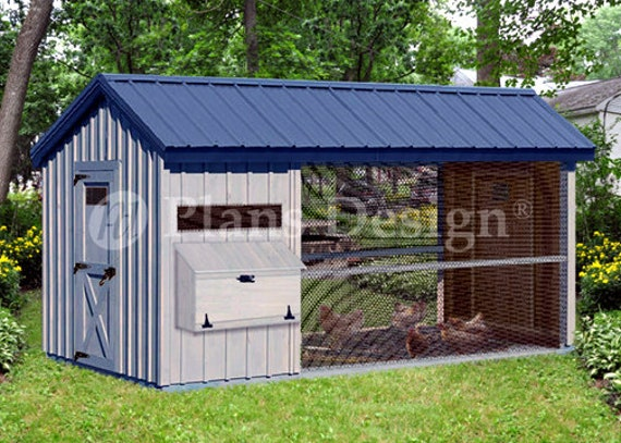 6/' x 12/' Large Walk in Gable A-frame Roof Style Chicken Coop Plans  # 80612CG