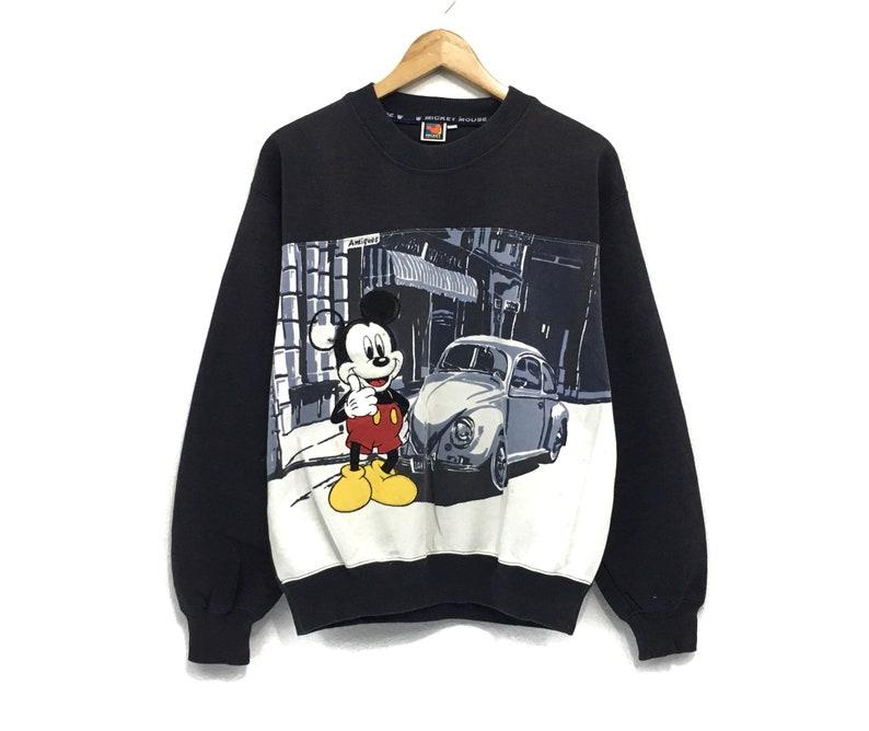 Mickey Mouse Crewneck Crewneck Big Logo Beetle Spell Out Sweatshirt  Fashion Style  Streetwear  Medium Size  Cartoon Fashion  Walt Disn