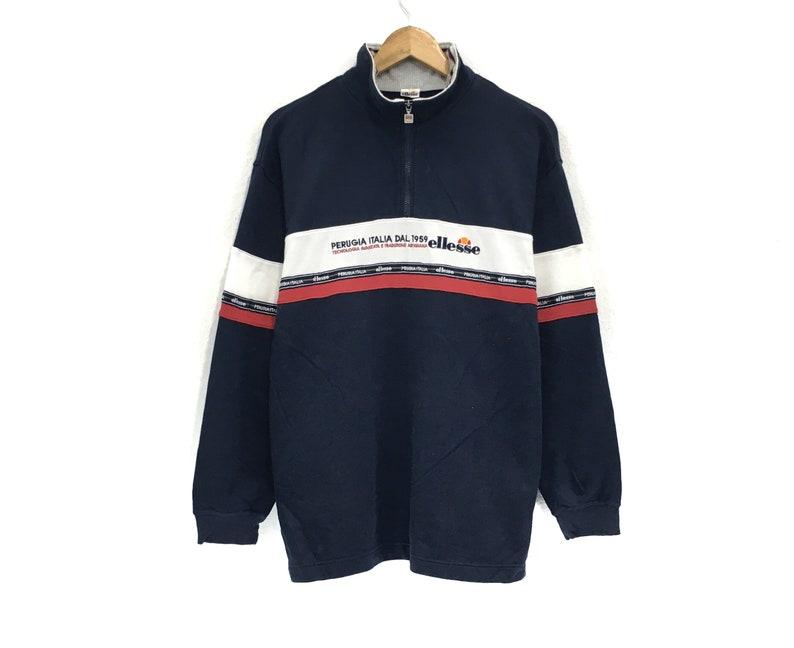 Ellesse Half Zip Sweatshirt Embroidery Medium Logo Spell Out Pullover  Fashion Style  Streetwear  Tennis Brands  Medium Size