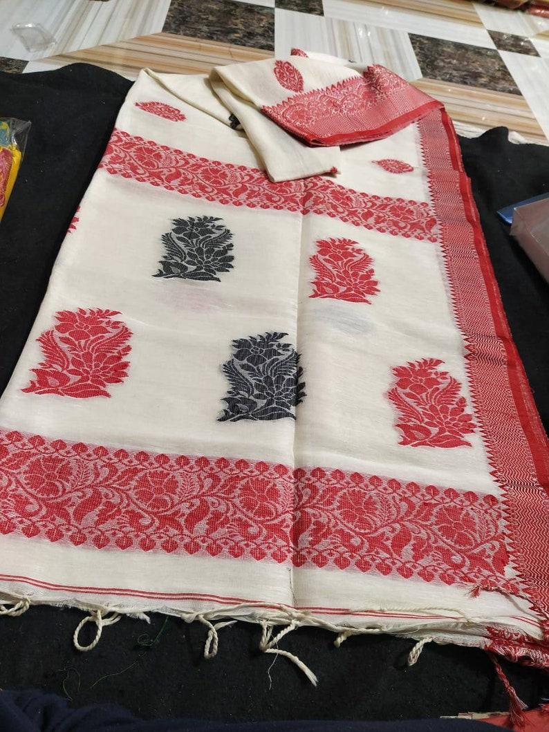 free gift organic linen benarasi saree