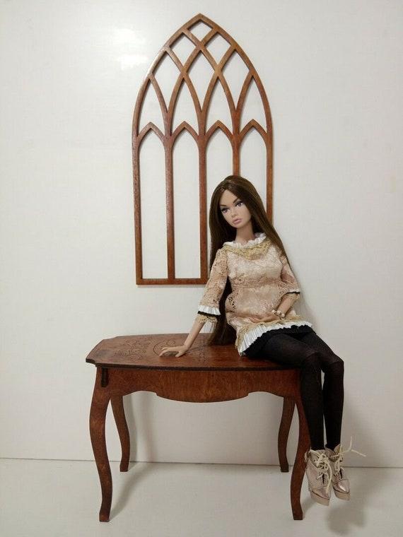 """Coffee table for Dolls 1//6 12/"""" for Barbie FR2 BJD furniture OOAK wooden v3"""