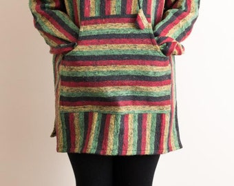 Cotton Patched hippie style hooded jumper
