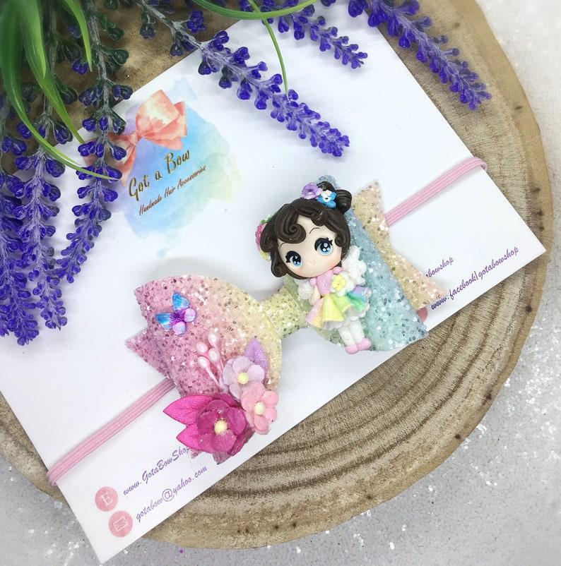 Rainbow Fairy hair bow Fairy headband Fairy bow Rainbow hair bows Fairy gifts for girls Baby headband hair bows Rainbow headband