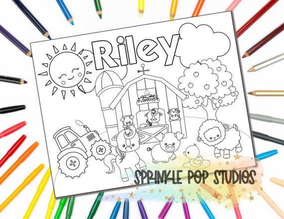 Personalized Coloring Page Farm Custom Coloring Book Page Etsy