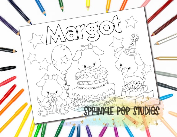 Personalized Coloring Page Birthday Puppy Custom Coloring Etsy