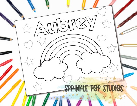 Personalized Coloring Page  Rainbow Hearts Stars  Custom