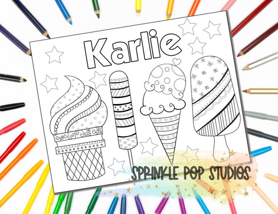 Personalized Coloring Page  Patterned Ice Cream  Custom