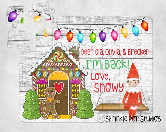 Christmas Puzzle Sublimation Design Template  Gingerbread