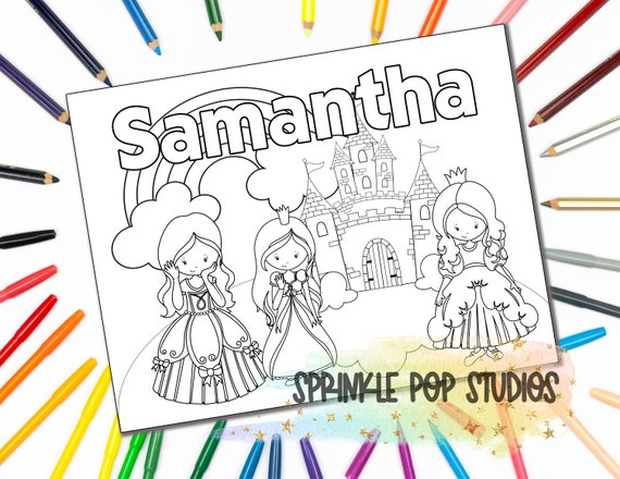 Personalized Coloring Page Princesses Custom Coloring Book Etsy