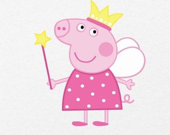 Princess Peppa Pig, Peppa Pig Svg, Fun cute pig instant download