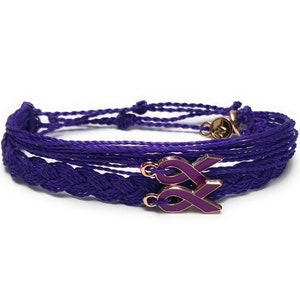 In Support of Loved Ones Battling Cancer Braided Fund Raising Gift for her Lung Cancer Awareness Bracelet Gift for him
