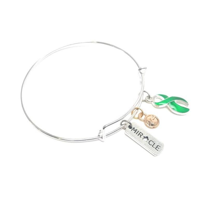 Hope Miracle Liver cancer awareness Ribbon bangle bracelet : liver cancer awareness jewelry Warrior,Green Ribbon Love Faith