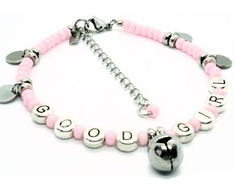 Good Girl Anklet Pink with Jingle Bell Charm - BDSM Daddys Good Girl BDSM Anket