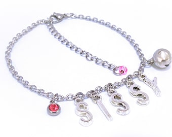 Sissy Anklet with Bell and Pink Glass Charm