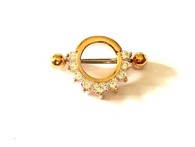 10mm inside diameter Choose Bar Finish and Bar Ends 1 or 2 14g or 16g Nipple Barbell Nipple Ring Nipple Shield Rose Gold P 9 Clear Crystals