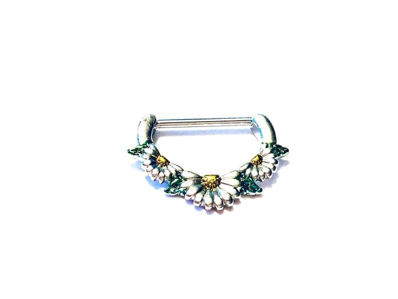 1 14g Enamel Daisy Flower Steel Nipple Clicker Nipple Shield Nipple Barbell Nipple Ring For A Set Order 2 16mm bar 10mm inside drop