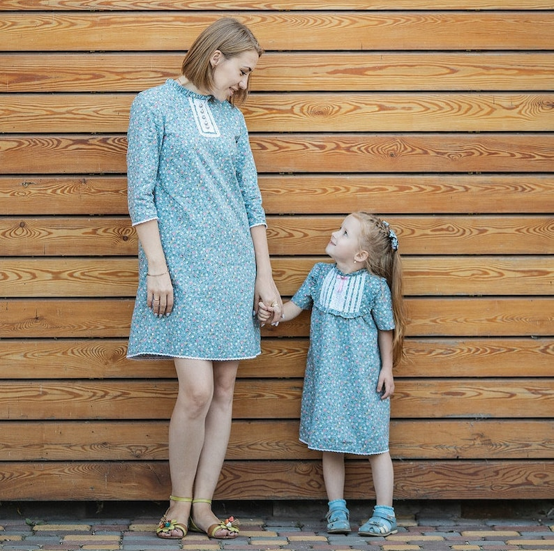 Easter cotton blue dress Dress for mother and daughter in vintage style knee-length. Dress for women and girls with a floral print