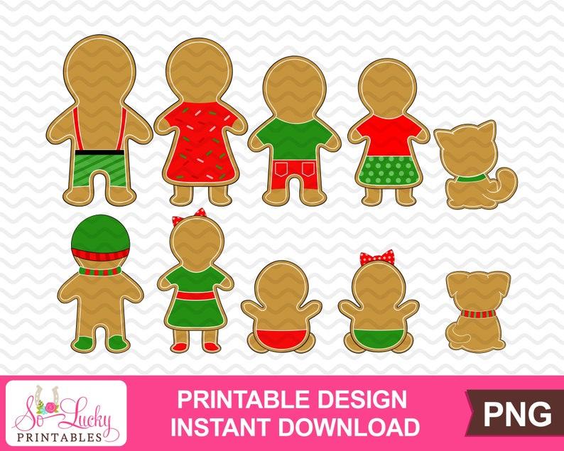 Digital download PNG Gingerbread Family Backside Set of 10 Christmas printable sublimation design Printable graphic design