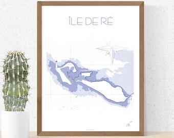Poster, illustration, poster, fancy marine map, Ile de Ré