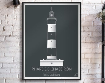 Poster, illustration drawing Lighthouse of Chassiron , Ile d'Oléron