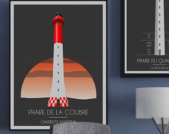 Poster, illustration, poster Lighthouse La Coubre, Charente Maritime