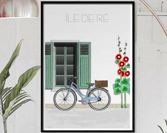 Poster, illustration Ile de D, bicycle and pink tremière.