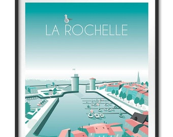 Poster, illustration, poster old port La Rochelle, Charente Maritime