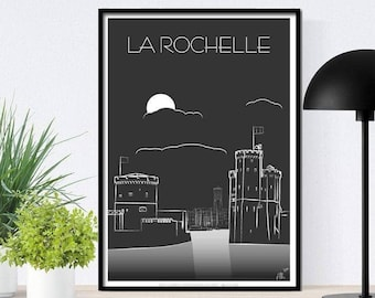 Poster, illustration, poster, La Rochelle, the port, the 2 towers