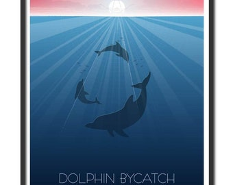 Poster drawing on ecological paper dolphin bycatch