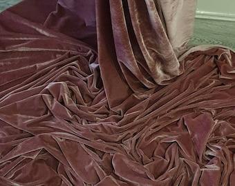"""1m dark dusky pink  velour  velvet  fabric 58"""" wide"""
