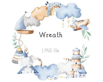 Baby boy Wreath Clipart. Watercolor blue baby illustrations - nursery clip art. Baby design, scrapbooking, nursery printable PNG invitation