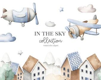 Airplanes Watercolor Clipart, Kids Clipart, Nursery Decor, Baby boy, Its a boy, Kids Art, Nursery Art