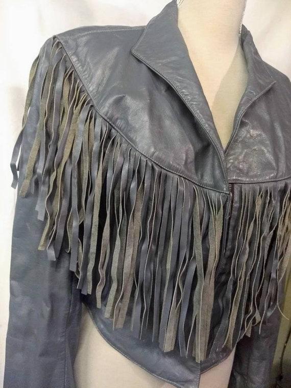 1980s Vintage Gray.leather fringed jacket. 80s fri