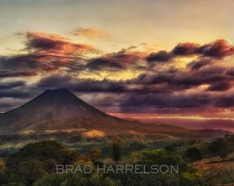 Original METAL Print - Sunset at Volcano Arenal, Costa Rica