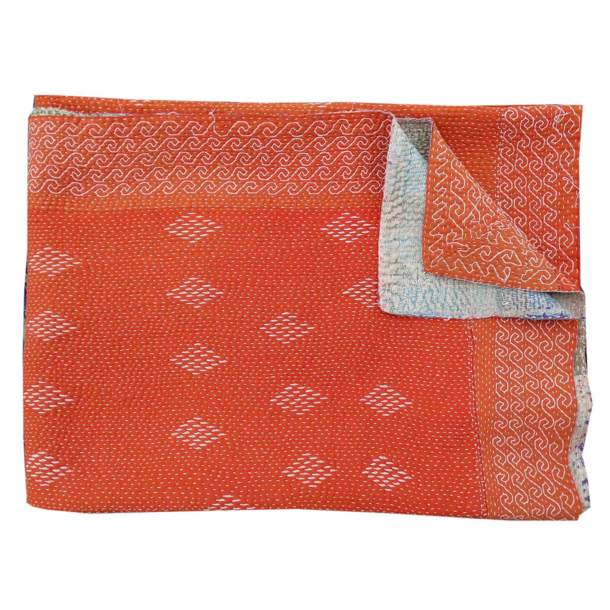 vintage Indien Saris Hand Stitched Kantha Quilt