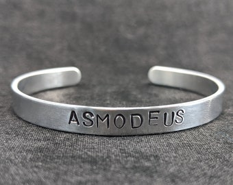 Lucifer Hand Stamped Bracelet Aluminum Handmade Jewelry Adjustable Lightweight Unisex Pride Satanic Satanas Devil Lucifer Gift Hail Yourself