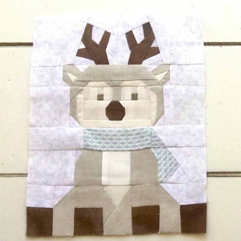 Reindeer Quilt Block Foundation Paper Piecing Pattern PDF