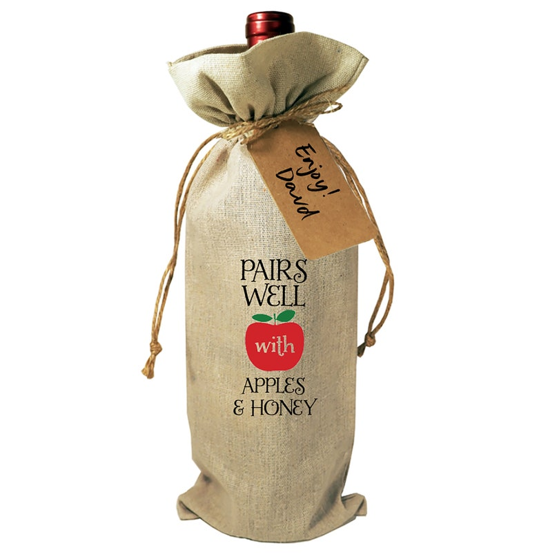 Wine Bag Bottle Burlap Gift Rosh Hashanah Drawstrings Gift Tag Included Pairs Well with Apples Honey Jewish New Year Kosher Wine Shana Tova