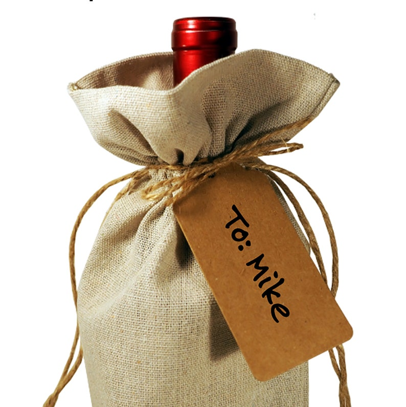 Wine Bottle Burlap Gift Bag Merry Christmas Personalized Tote with Drawstrings Gift Tag Included  Host Hostess Celebration