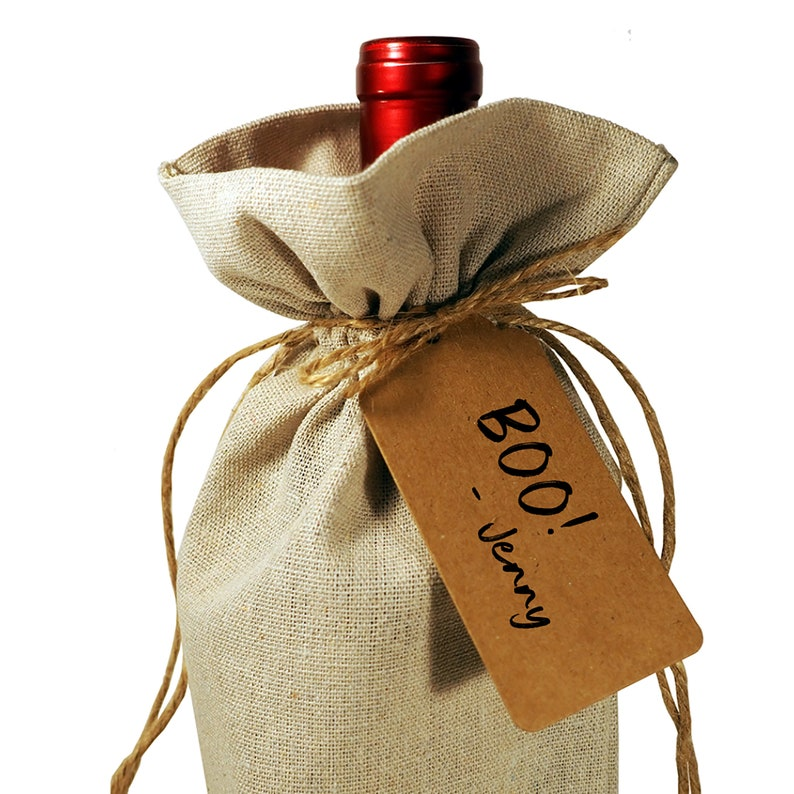 Wine Bottle Burlap Gift Bag Halloween Party Witch Witches Broomstick Drawstrings Gift Tag  Host Hostess Fall