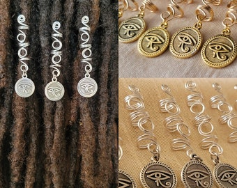 Egyptian God 1 Dreadlock Bead featuring Egyptian Queen Charm Filigree Silver Toned Metal 8mm Hole Size