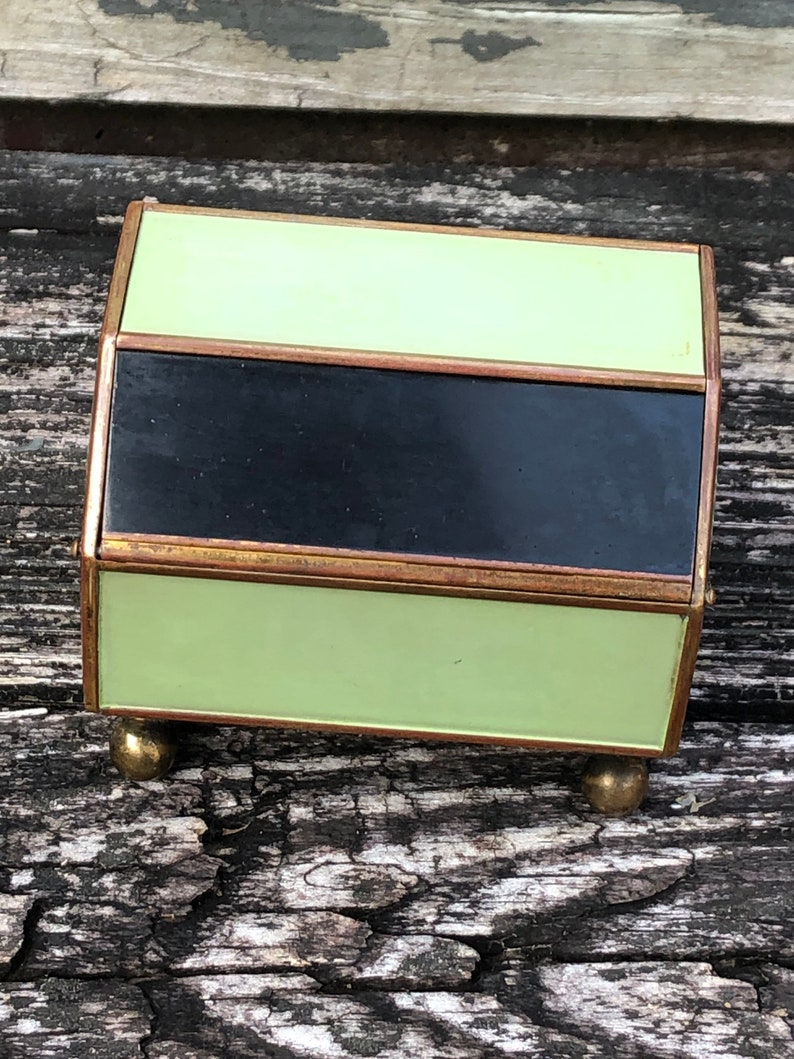 Vintage Retro Hexagon Footed Cylindrical Trinket Jewelry Box Black Mint Green Metal