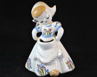Cute scissor holder Dutch girl, Holland tulips, flowered dress and cap, vintage, ceramic