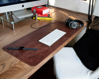 Top Grain Leather Large Mouse Pad, Hand Crafted Custom Desk Pad, Personalized Extended Mouse Pad, Custom Tech Accessories, Desk Accessories
