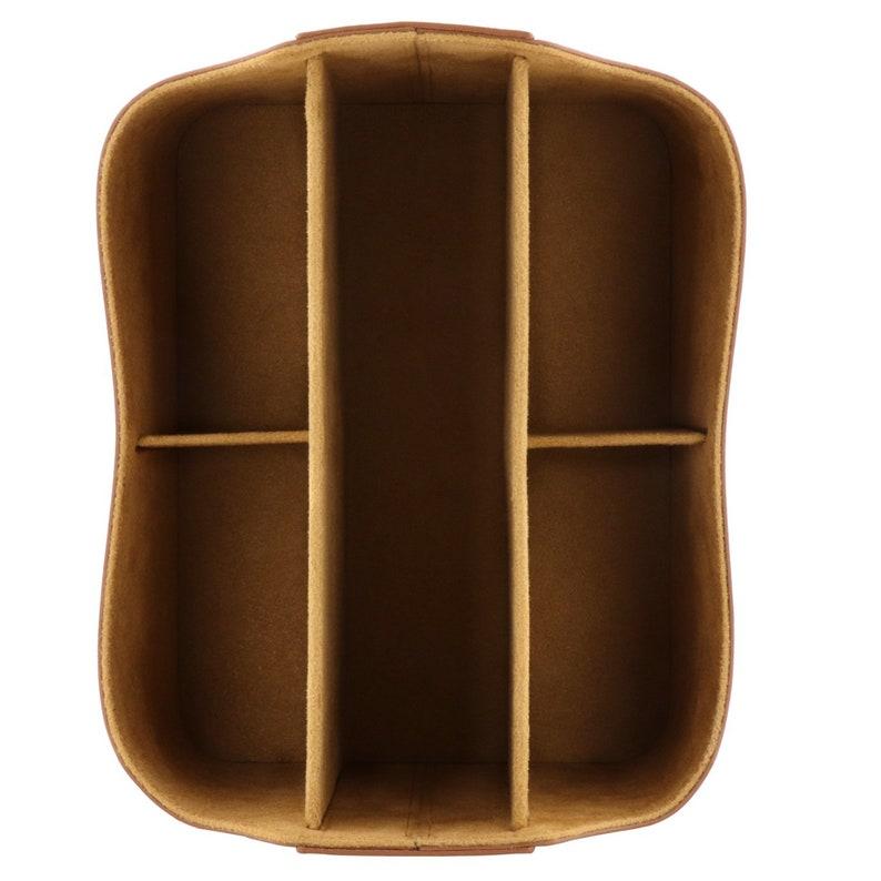 Hand Crafted Leather Remote Caddy Organisateur de bureau avec image 5