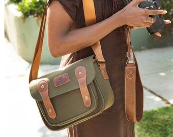 MegaGear Sequoia Canvas Camera Bag Shoulder Bag Case - Compatible with Canon Camera, Nikon, Sony SLR/DSLR Mirrorless Cameras and Lenses
