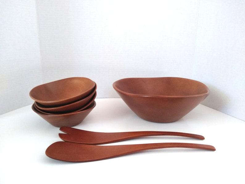 vintage (7) Piece Wooden Salad Bowl Set w/ Servers