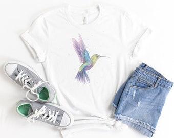 Hummingbird Shirt, Watercolor Hummingbird, Unisex, Soft Bella Canvas, Vintage T, Retro, Gift For Her, Hummingbird Lover, Bird Shirt, Trendy