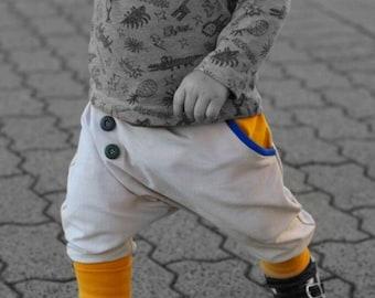 Hose Babyhose Pumphose Schlupfhose NEU 56 62 68 Unisex Weiß Braun Bärchen Muster